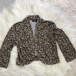NINA LEONARD shrug cardigan leopard medium